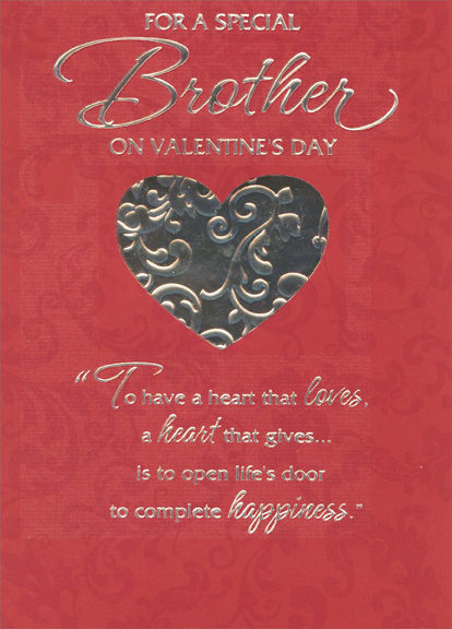 Silver Foil Heart with Vines Brother 1 card1 envelope Designer – Valentines Day Card Greetings