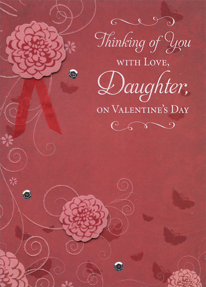 2 die cut flowers with red ribbon hand decorated daughter premium keepsake valentines day card by designer greetings - Valentines Day Daughter