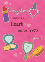 Makeup, Brush, Mirror: Young Daughter (1 card/1 envelope) Designer Greetings Valentine's Day Card
