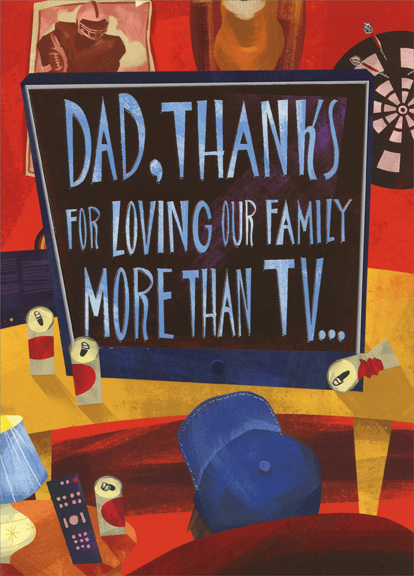 Love More Than TV Dad 1 card1 envelope Designer Greetings – Tv Valentines Day Cards