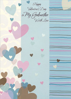 Pastel and Earthtone Hearts: Godmother (1 card/1 envelope) Designer Greetings Valentine's Day Card