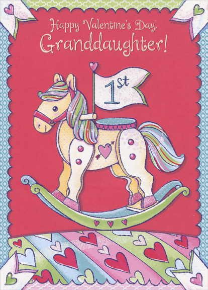 Rocking Horse Granddaughter 1st Valentines Day Card By Designer