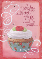 Cupcake with Tip On Frosting Hand Crafted: Grandma (1 card/1 envelope) Designer Greetings Premium Keepsake Valentine's Day Card