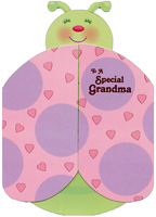 Ladybug Die Cut Gate Fold: Grandma (1 card/1 envelope) Designer Greetings From Child Valentine's Day Card