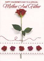 Long Stem Rose on White: Mother & Father (1 card/1 envelope) Designer Greetings Parents Valentine's Day Card