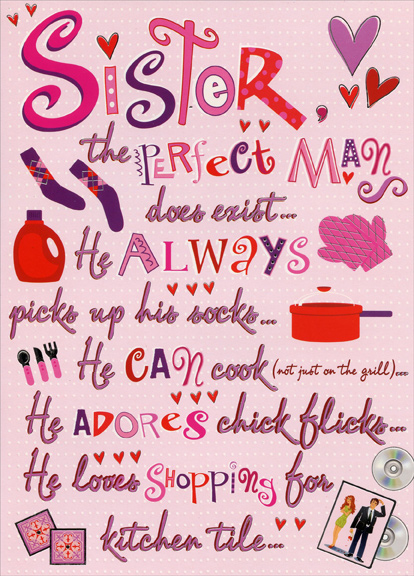 The perfect man sister funny valentines day card by designer greetings m4hsunfo Choice Image