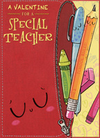 Crayon, Pen, Pencil Die Cut: Teacher (1 card/1 envelope) Designer Greetings From Child Valentine's Day Card
