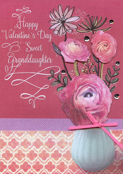 Three Tip On Flowers Hand Crafted Granddaughter Valentines Day Card