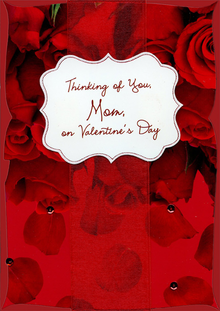 Wide Red Ribbon And Cream Banner Hand Decorated Mom Valentines Day