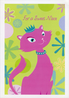 Pink Cat with Blue Collar: Niece (1 card/1 envelope) Designer Greetings Valentine's Day Card