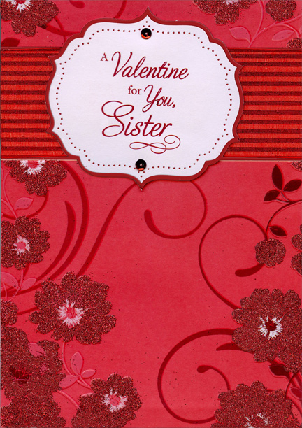 Dark red glitter flowers hand crafted sister premium keepsake dark red glitter flowers hand crafted sister premium keepsake valentines day card by designer greetings m4hsunfo Choice Image