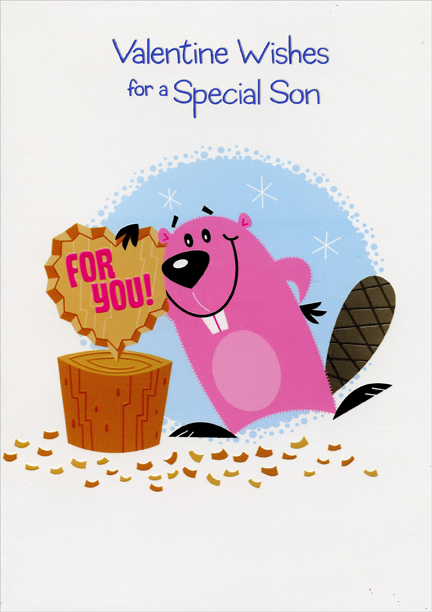 Beaver Carving Heart Son Valentines Day Card by Designer Greetings