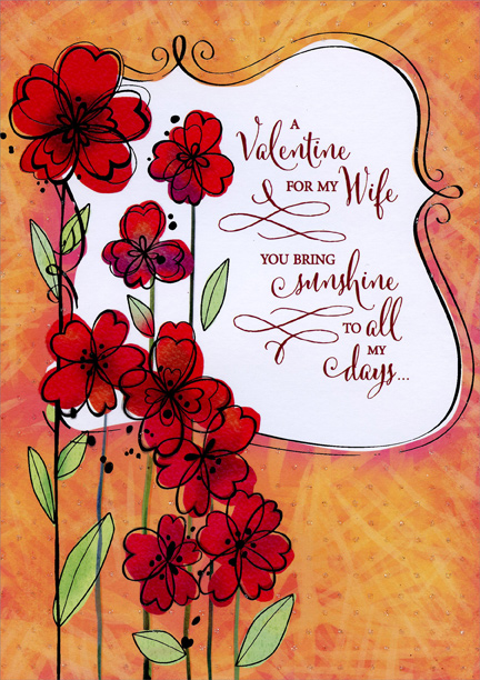 Red flowers with long stems wife valentines day card by designer red flowers with long stems wife valentines day card by designer greetings m4hsunfo