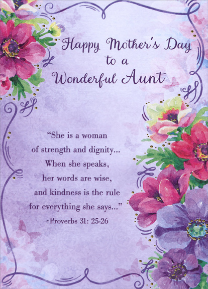 Pink and purple floral border wonderful aunt religious mothers day pink and purple floral border wonderful aunt religious mothers day card m4hsunfo
