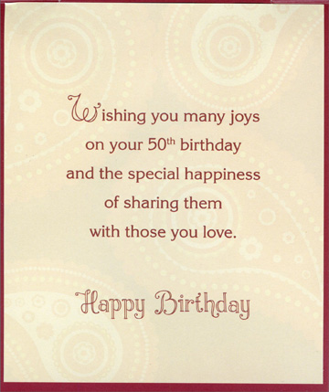 Large Blue Letters on Orange Die Cut Age 50 50th Birthday Card