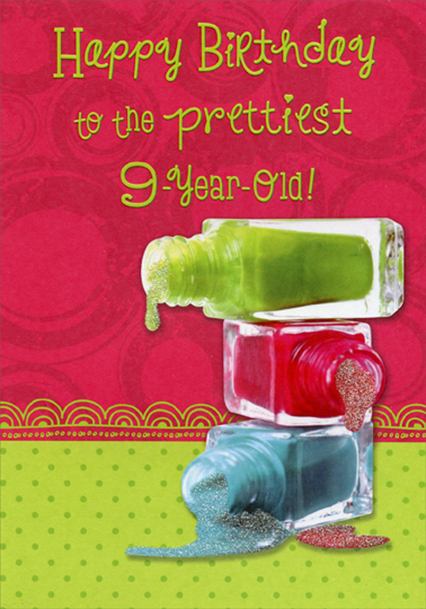 Green Red Blue Nail Polish Age 9 9th Birthday Card For Girl
