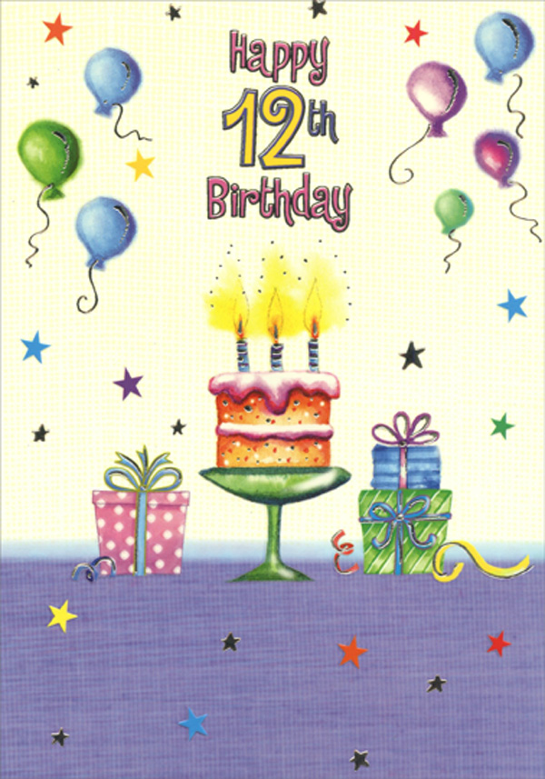 Cake With Three Candles Age 12 12th Birthday Card