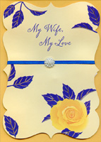 Table Chairs Foil Leaves Blue Sky Hand Decorated Husband Anniversary Card