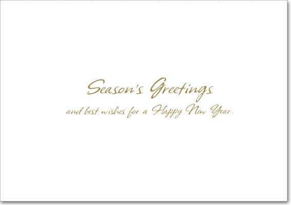 Green Marble and Gold Photo Holders (18 cards/18 envelopes) - Boxed Holiday Cards  INSIDE: Season's Greetings and best wishes for a Happy New Year.