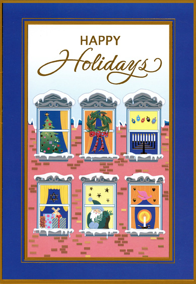Apartment Windows (1 card/1 envelope) Designer Greetings Mixed Faith Holiday Card - FRONT: Happy Holidays  INSIDE: May the joy of the season fill your home with special happiness.