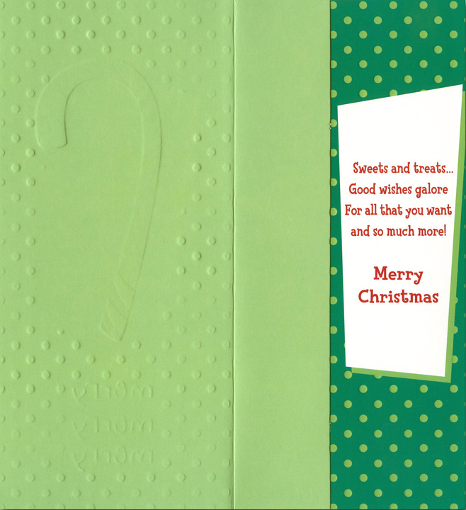 Merry Candy Cane (8 cards/8 envelopes) Designer Greetings Boxed Holiday Money & Gift Card Holders - FRONT: merry merry merry  INSIDE: Sweets and treats� Good wishes galore  For all that you want and so much more!  Merry Christmas