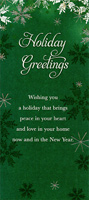 Holiday Greetings: Snowflakes on Deep Green - Money / Gift Card Holder (1 card/1 envelope) Designer Greetings Christmas Card
