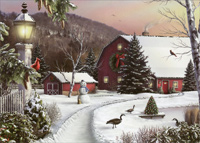 Barn in Winter (1 card/1 envelope) Designer Greetings Christmas Card