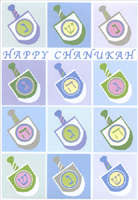 Pastel Dreidels (18 cards/18 envelopes) Designer Greetings Boxed Hanukkah Cards