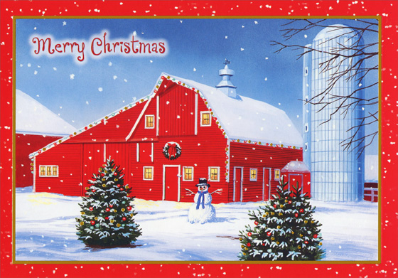 Red Barn and Silo on Farm Christmas Card by Designer Greetings