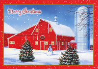 Red Barn and Silo on Farm (18 cards/18 envelopes) Designer Greetings Boxed Christmas Cards