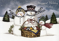 Snowman Family with Baby (1 card/1 envelope) Designer Greetings Christmas Card