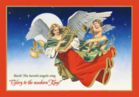 Angels with Harp and Trumpet Christmas Card