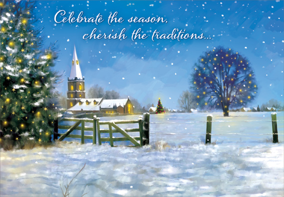 Religious Christmas.Fence And Church Box Of 18 Religious Christmas Cards By