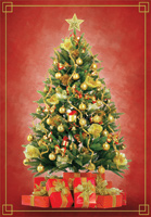 Foil Tree with Presents (1 card/1 envelope) Designer Greetings Christmas Card
