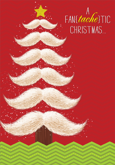 Mustache Tree Box Of 18 Christmas Cards By Designer Greetings