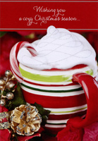 Striped Mug with Whipped Cream (1 card/1 envelope) Designer Greetings Christmas Card