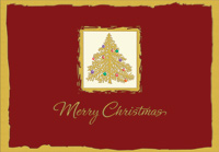 Gold Tree on Deep Red (1 card/1 envelope) Designer Greetings Christmas Card