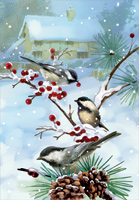 Chickadees on Branches Christmas Card