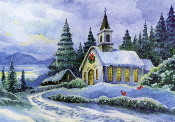 Snow covered church box of 18 religious christmas cards by designer snow covered church box of 18 religious christmas cards by designer greetings m4hsunfo