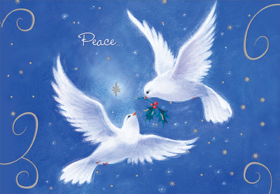 Two Doves on Blue Box of 18 Peace Christmas Cards by Designer ...