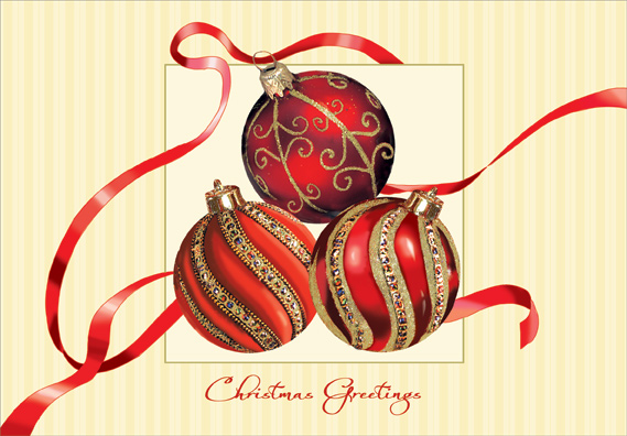 Red and Gold Ornaments Box of 18 Christmas Cards by Designer Greetings