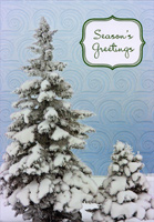 Evergreen Trees and Swirls Christmas Card