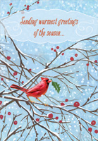 Cardinal with Green Leaf Christmas Card