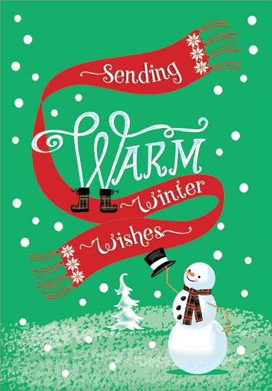 Warm winter wishes snowman christmas card by designer greetings m4hsunfo