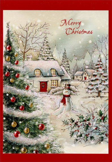 Snow covered home and snowman christmas card by designer greetings m4hsunfo