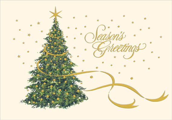 Gold Foil On Christmas Tree Christmas Card By Designer Greetings