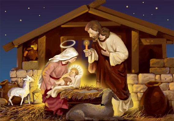 Mary Lays Jesus In Manger Box Of 18 Religious Christmas Cards By