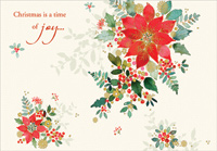 Poinsettia on White (18 cards/18 envelopes) Designer Greetings Boxed Christmas Cards