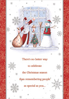Santa and Snowman on Windowsill (18 cards/18 envelopes) Designer Greetings Boxed Christmas Cards