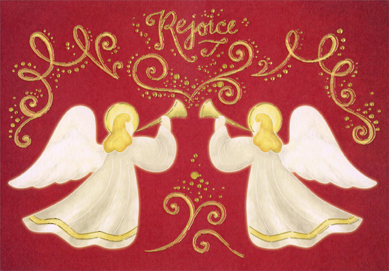 gold foil angels on red box of 18 religious christmas cards by designer greetings - Religious Christmas Cards